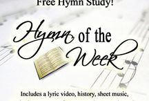 Hymn Study / Christian Hymns for Study -- hymns include lyric video, history, sheet music, and other resources. Note that the lyric videos, though they contain the original words and tune, are in a contemporary modernized style.
