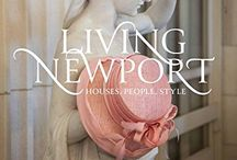 Bettie Pardee's literary projects / Coffee table-worthy tomes both by the author --Living Newport: Houses, People, Style (2014) and Private Newport: At Home and in the Garden (2004)-- and those in which she is included.