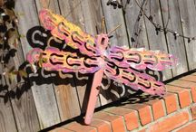 Metal Butterfly and Dragonfly Art / metal butterfly, dragonfly garden stakes, wall hangers, wall art, great for outdoor garden yard art patina will get better as it weathers.. Durable will last many years by Raymond Guest at Recycled Salvage Design https://www.recycledsalvage.com
