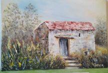 Vieille batisse de berger prés de Caminha,Portugal ,Peintures de Violetta Braga