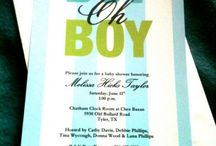 Blue/green/black Baby shower invites