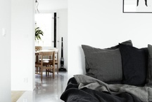 Home Sweet Home: Bedroom Inspiration / White, grey + pops of colour.  Simplistic and comfy.