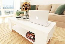 Modern Coffee Table White Living Room Furniture Storage Unit Shelf Design Style