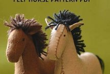 Felt Horse and Unicorn and Dragon