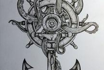 Anchor compass tattoo