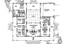 U-shaped one story house plans