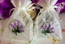 White with Lavender embroidered favor seed White Favor Fabric Bags