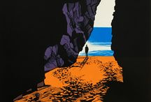 James Bywood / Exhibitor at Leeds print fair 2017. A bright colour palette helps James Bywood to capture all the glories of the British landscape in his vivid screenprints