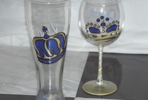 Hand Painted Wine Glass / Our hand painted wine glasses are available in any color combination and can say anything you would like at no extra charge.    Custom pattern prices are negotiated