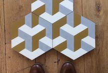 Cement tiles - geometric patterns / Encaustic cement tiles with traditional cubic and geometric designs