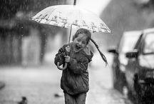 children and rain