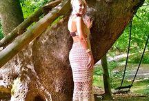 geo / crochet dress