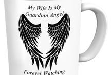 Wife Guardian Angel / Wife Guardian Angel - Pendants, T-Shirts, Coffee Mugs, Necklaces, Bracelets, Hoodies.  Men's and Women's / by Designs by Cali Kays
