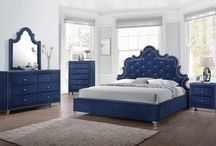 Caroline Bedroom Set / The Caroline Bedroom Set by Meridian Furniture features a custom design upholstered in a beautiful blue velvet fabric. Embellished with crystal tufting and a nail head trim, this bedroom set is guaranteed to make you feel like royalty.