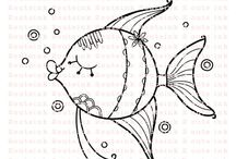 Fish digistamps and cards