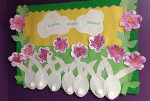Preschool Bulletin Boards / combining preschool artwork to make an adorable bulletin board
