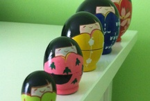 Kokeshi dolls / I collect Kokeshi dolls, my daughter bought me many  while living in Okinawa. I love the beautiful bright colors. / by Victoria ~ Rose