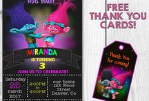 Trolls theme party supplies / Examples of trolls birthday invitation, trolls invite, trolls party supplies, Poppy and Branch invitations, Trolls thank you cards and tags, trolls banner - trolls party staff for boys and girls.