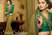 Satin Splendour / #Satin gets softer with #viscose #sarees from #Bluekurta. Look your royal best in the vintage style #blouses. Choose from more than eight styles in #pastel colors at http://www.bluekurta.com/index.php?route=product%2Fsearch&filter_name=WSAa611040