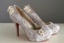 Lace and pearl shoes / Custom lace and pearl shoes which are completely elegant.