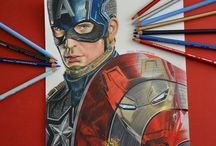 Drawing Movie Characters / Colored pencil drawing of Movie characters