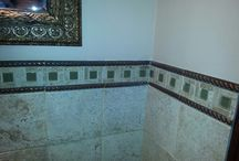 Ceramic Tile Boarders / I added this 2 inch boarder surrounded with this copper look to complete the top of the tile.