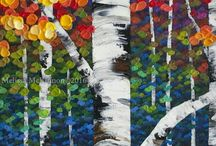 Colorful trees canvases