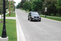 Streets and Roads / Unify the streetscape with interlocking concrete pavement or permeable interlocking concrete pavement systems in sidewalks, parking areas and roads. Both pavements accent important places in down towns or neighborhood business districts by creating distinct visual patterns which can assist in way finding and help calm vehicular traffic. These features help increase pedestrian safety and reduce accidents.