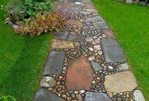 Garden pebble paths