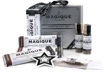 Magique Chocolate / Indulge in a new chocolate experience. Exceptional 100% natural milk and dark chocolate is enhanced with a pinch of our Classic or Spicy Blends, creating a subtle, sophisticated and absolutely delectable bouquet of sweet-savory flavors. Magique is savory chocolate.