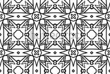 Line vector pattern / Black and white line geometric ornaments.