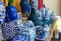 Angol kék porcelánok.