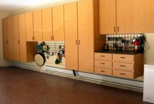 Garage Cabinets, Flooring and Wall Storage / Garage Makeovers including custom cabinets, garage flooring systems, and wall storage organization.