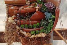 Ide Kreatif untuk dekorasi taman..... / Kreasi dari pot yang sudah pecah.....