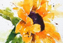 """Lisa Livoni, Napa Valley artist, colorist watercolor sunflowers w/ """"you are my sunshine"""""""