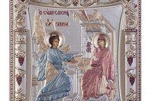 Virgin Mary silver icon