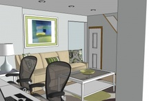 Cool basement design / Finished basement with office space, family space and a pull out sofa.  Blue, green palette keeps this space, which naturally could be dark - de-lightful!