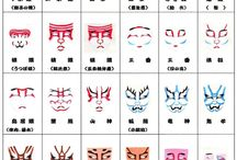 Kabuki style / A variety of kabuki make up influences