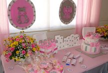 Baby shower Niña elefante / linda decoracion de baby shower para niña, en colores rosados, grises y amarillos