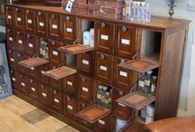 Apothecary / Library Card Catalog cabinets  / by Lynne Valarie