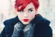 bright red hair and makeup