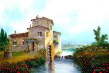Pinturas de casas e paisagens