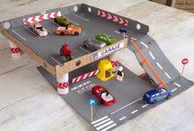 pista de cartón para coches
