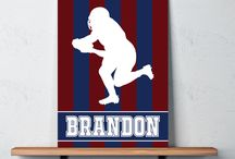 Football Rooms for Boys / Football themed bedrooms for boys and teens.  Duvet cover bedding sets, throw pillows, wall art prints, gallery wrapped canvases, shower curtains.