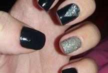 Nails Art / brilho gliter unhas preta