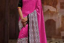 Stylish Bhagalpuri Silk Sarees / Get dressed in hottest collection of vibrant half-half printed bhagalpuri silk sarees @ best prices with cash on delivery & free shipping in India.