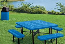 Plastisol Coated Metal Picnic Tables / Combine commercial grade performance with excellent style with plastisol coated picnic tables. Our plastisol coated picnic tables tables come with the patented Fusion Advantage technology that won't rust, rot, fade, chip, peel, mold or mildew.