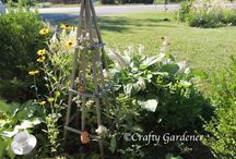 Garden - Obelisks & Trellis / Garden support for climbing plants.  great DIY budget friendly obelisks, arbors and trellis.  Grow UP and add space to a small garden.