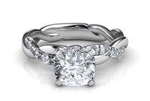 Cushion Cut Engagement Rings With Side Diamonds / 0
