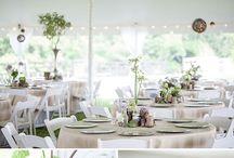 Rustic Wedding Ideas  / Burlap overlays, wicker lanterns, whiskey barrel ideas, mason jar centerpieces, wedding tents, drape lighting, rustic wedding ideas
